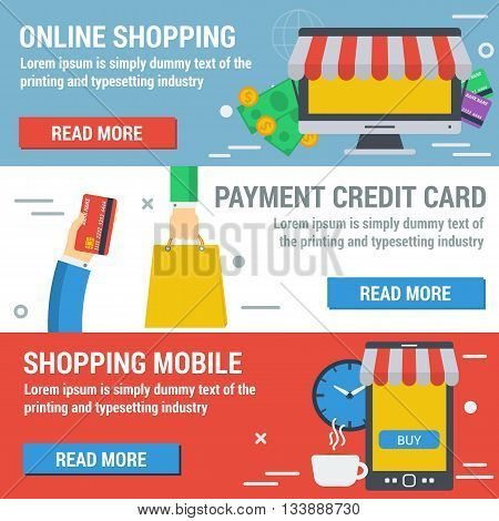 Vector horizontal banners shopping online. Infographic of online payment mobile shopping convenient time for shopping. Credit card cash and computer in flat style. Web infographics