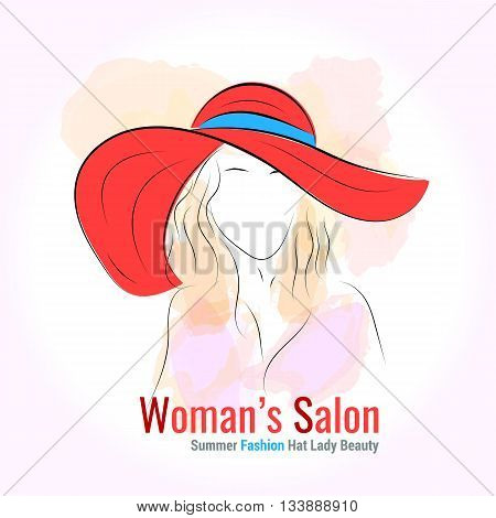 Vector illustration. Handdrawing. Silhouette woman in red summer hat on isolated background. Banner or card template or logotype for company. Design for womans shop or salon