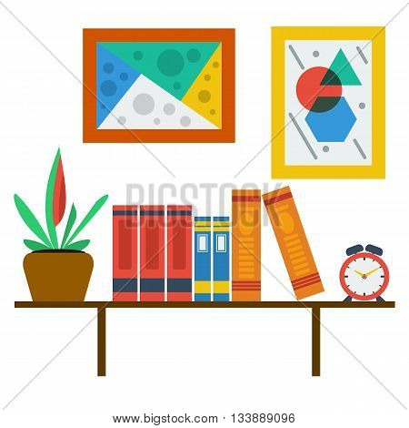 Vector bookshelf on white wall with paintings and clocks. Colored books flower two pictures with abstract image. Modern style office. Library Interior.