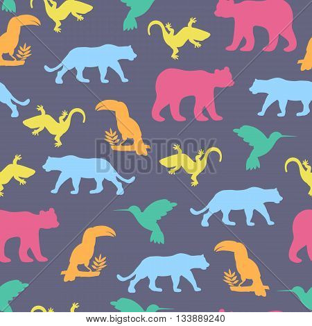Seamless pattern with isolated animals and birds. The bear jaguar toucan lizards hummingbirds. Vector