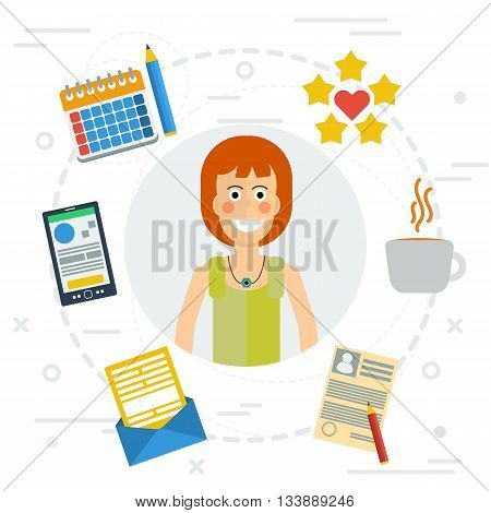 Vector concept of accounting services. Female accountant at working place money calculator documentation graphics. Flat style. Isolated web infographic