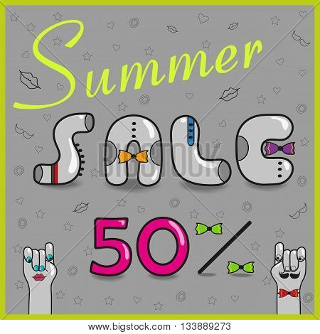 Inscription summer sale with hipster style. Fifty percents. Gray letters with colorful ties. Cartoon hands looking at each other. Illustration.