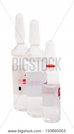 Glass ampoule isolated on a white background