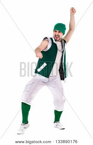 friendly man dressed like a funny gnome dancing Isolated on white background in full length.