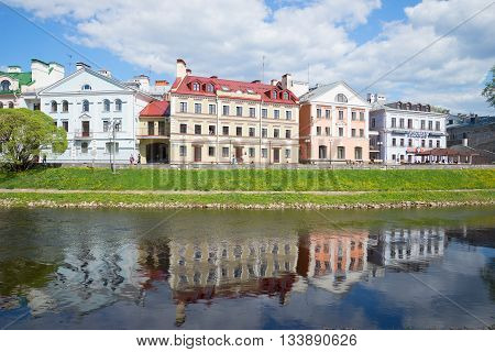 PSKOV, RUSSIA - MAY 07, 2016: Golden embankment Pskov city, may day. Historical landmark of the city Pskov, Russia
