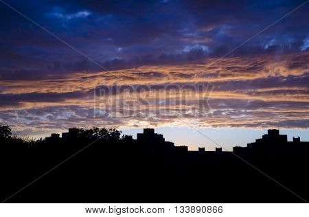 Amazing sunrise or sunset atmosphere with heavy stormy clouds. Storm sky background