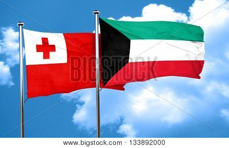 Tonga flag with Kuwait flag, 3D rendering