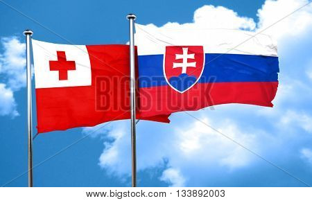 Tonga flag with Slovakia flag, 3D rendering