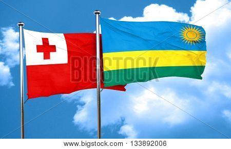 Tonga flag with rwanda flag, 3D rendering