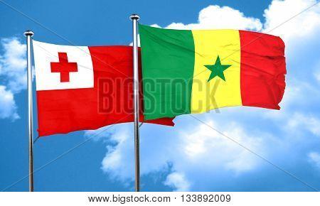Tonga flag with Senegal flag, 3D rendering