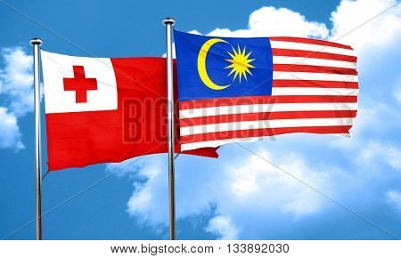 Tonga flag with Malaysia flag, 3D rendering