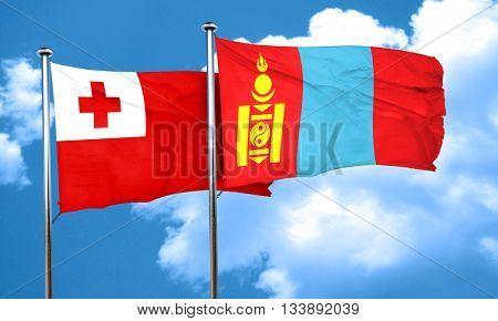 Tonga flag with Mongolia flag, 3D rendering