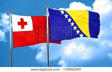 Tonga flag with Bosnia and Herzegovina flag, 3D rendering