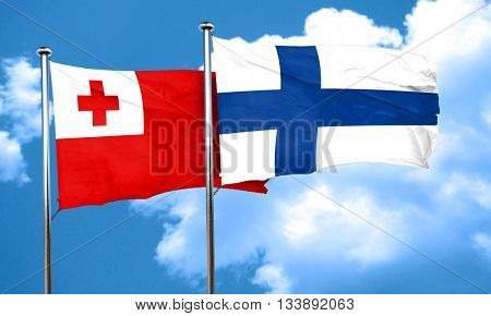Tonga flag with Finland flag, 3D rendering
