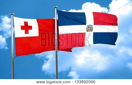 Tonga flag with Dominican Republic flag, 3D rendering