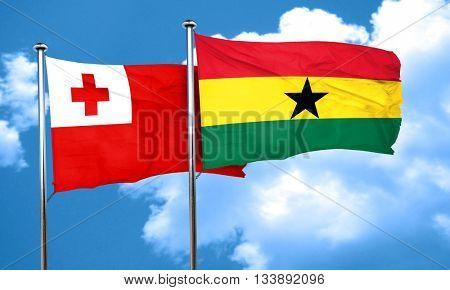 Tonga flag with Ghana flag, 3D rendering