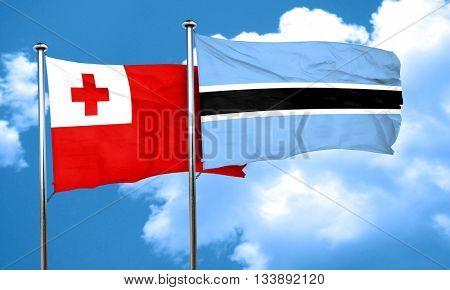 Tonga flag with Botswana flag, 3D rendering