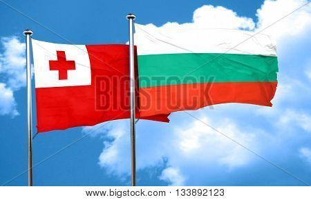 Tonga flag with Bulgaria flag, 3D rendering