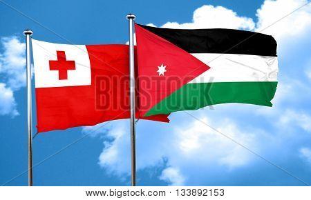 Tonga flag with Jordan flag, 3D rendering