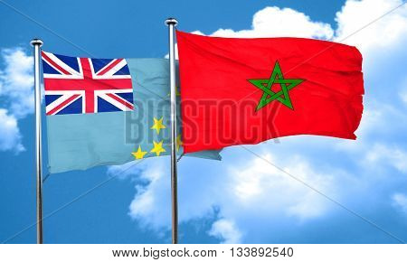 Tuvalu flag with Morocco flag, 3D rendering