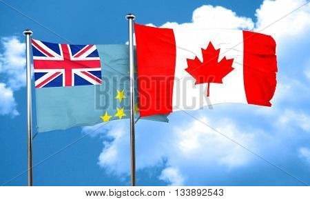Tuvalu flag with Canada flag, 3D rendering