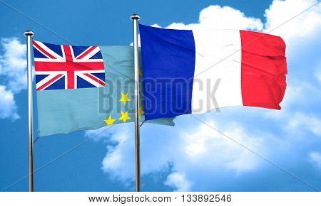 Tuvalu flag with France flag, 3D rendering