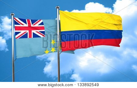 Tuvalu flag with Colombia flag, 3D rendering