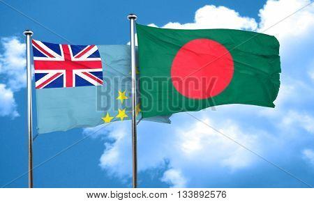 Tuvalu flag with Bangladesh flag, 3D rendering