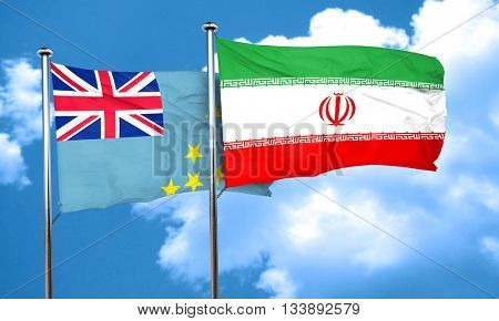 Tuvalu flag with Iran flag, 3D rendering