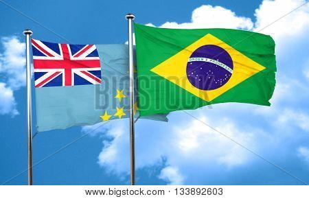Tuvalu flag with Brazil flag, 3D rendering