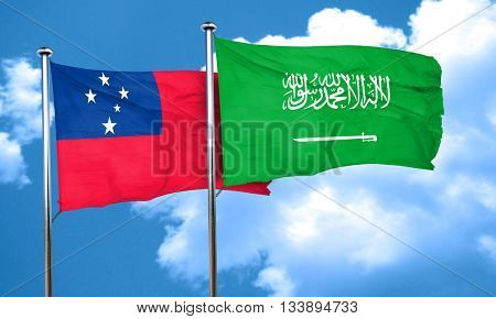 Samoa flag with Saudi Arabia flag, 3D rendering
