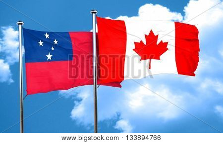 Samoa flag with Canada flag, 3D rendering