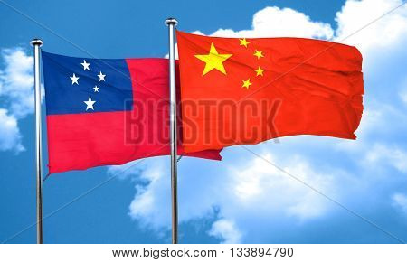 Samoa flag with China flag, 3D rendering
