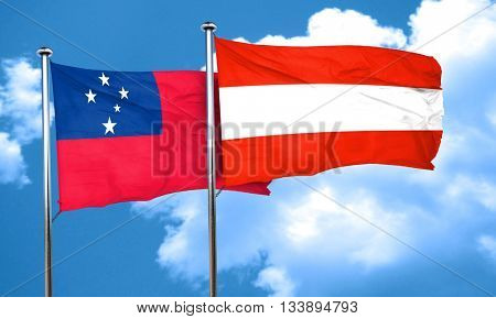 Samoa flag with Austria flag, 3D rendering
