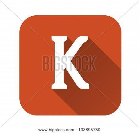 Letter k alphabet long shadow flat icon EPS 10 vector