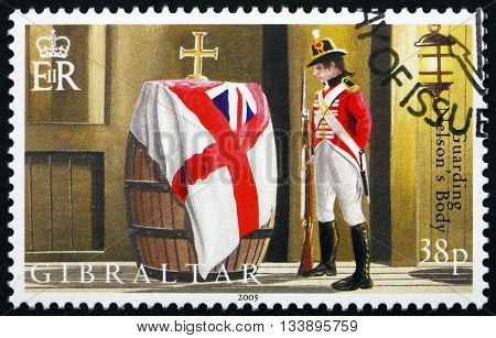 GIBRALTAR - CIRCA 2005: a stamp printed in the Gibraltar shows Soldier Guarding Wine Cask Containing Admiral Horatio Nelson's Body Battle of Trafalgar Bicentenary circa 2005
