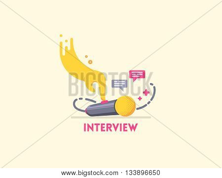 Microphone icon with hand presses the button and speech bubbles. Illustrating interview, speech, meeting. Can be used for podcast, studio recording, radio, tv and other audio content.
