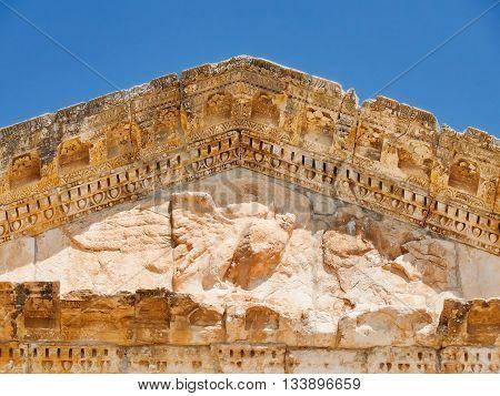 Dougga Roman Ruins. Unesco World Heritage Site in Tunisia. Architecture detail - portico of ancient theatre.
