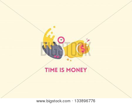 Time is money concept icon. Hand with clock holding a coin. Money saving, time management and efficiency business concept. Flat vector illustration.