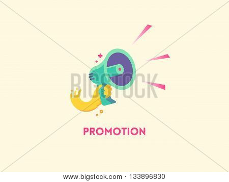 Marketing promotion concept. Speaker Hand holding a megaphone. Vector flat icon illustration