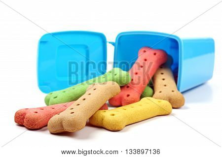 blue rubbish bin and dog biscuits on a white background