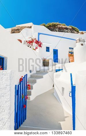 Beautiful white architecture on Santorini island Greece.