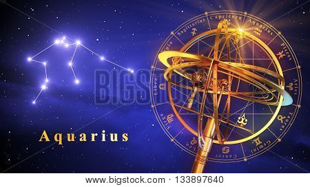 Armillary Sphere And Constellation Aquarius Over Blue Background. 3D Illustration.