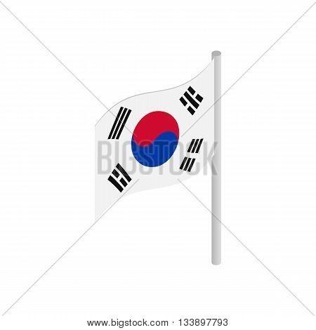 South Korea flag icon in isometric 3d style isolated on white background. State symbol