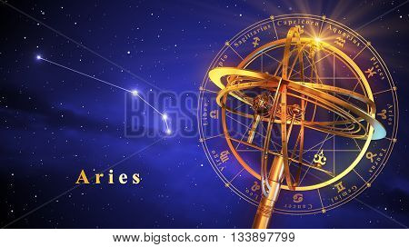 Armillary Sphere And Constellation Aries Over Blue Background. 3D Illustration.