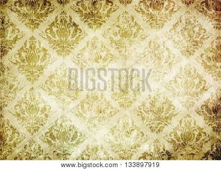 Aging paper background with vintage patterns. Vintage paper texture.