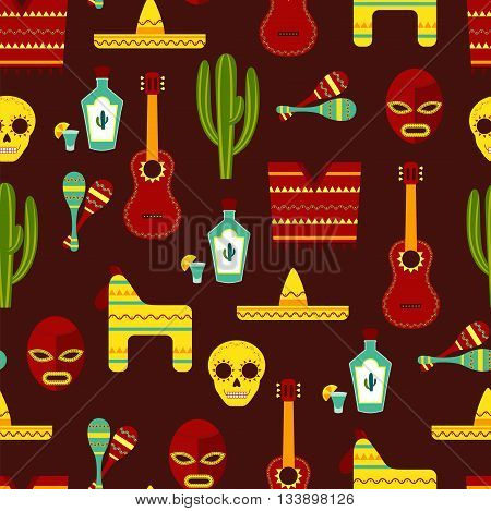 Mexico Seamless Pattern / Vector Background with Mexican Elements