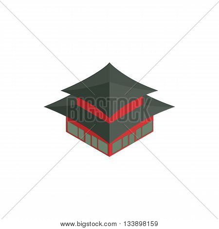 Pagoda in South Korea icon in isometric 3d style isolated on white background. Landmark symbol