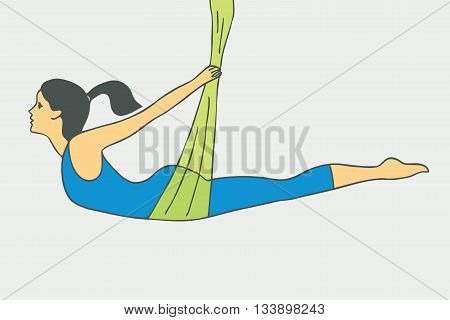 Aerial Yoga. Aero Yoga. Anti-gravity Yoga. Women doing anti gravity yoga exercise.