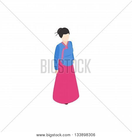Girl korean icon in isometric 3d style isolated on white background. People symbol
